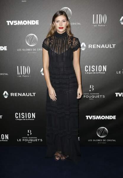 Camille Cerf lors du photocall de la cérémonie des Globes de Cristal au Lido, le 12 février 2018
