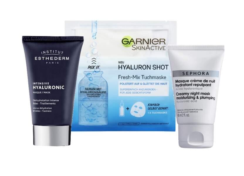 Masque à l'acide hyaluronique: un coup d'éclat immédiat  pour peau plumpy