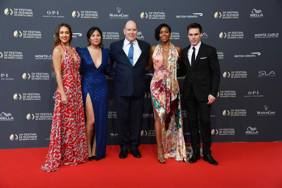 Jessica Alba, Marie Chevallier, le prince Albert II de Monaco, Gabrielle Union et Louis Ducruet le 14 juin 2019
