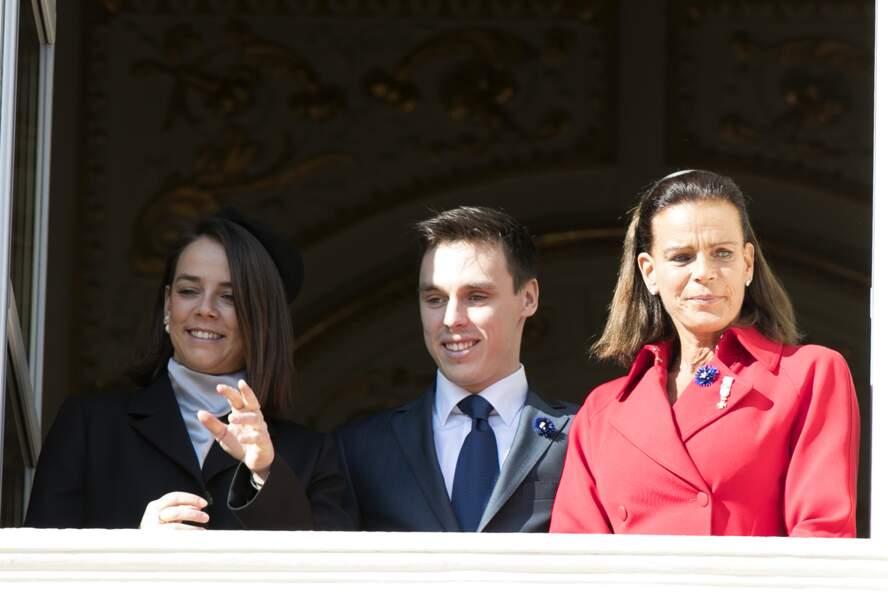 Stéphanie de Monaco, Pauline et Louis Ducruet lors de la fête nationale monégasque, le 19 novembre 2018