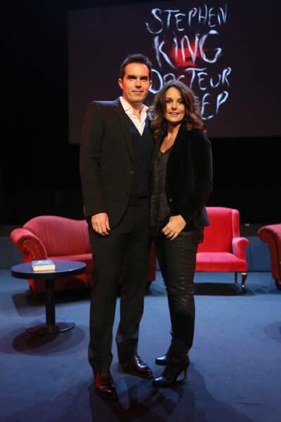 Maxime Chattam et sa femme Faustine Bollaert, un couple qui adore le noir à Paris, le 16 novembre 2013
