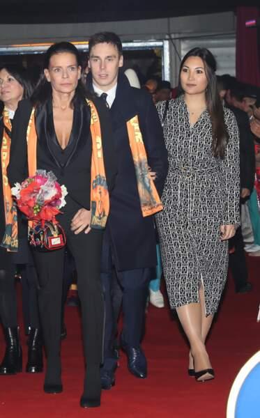 La princesse Stéphanie de Monaco, Louis Ducruet et sa fiancée Marie Chevallier le 17 janvier 2019