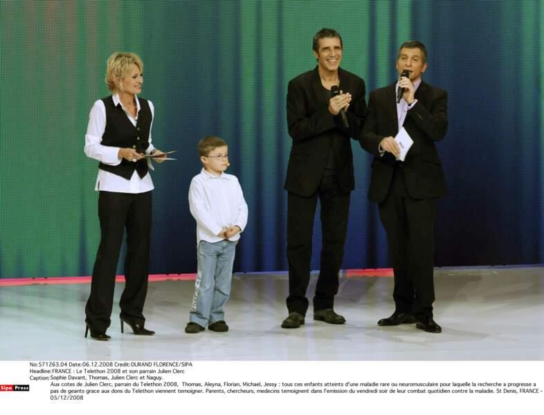 Avec Thomas, le parrain Julien Clerc et Nagui en 2008