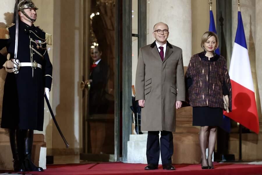 Bernard Cazeneuve et sa femme Véronique, reçus à l'Elysée mardi 20 décembre 2016