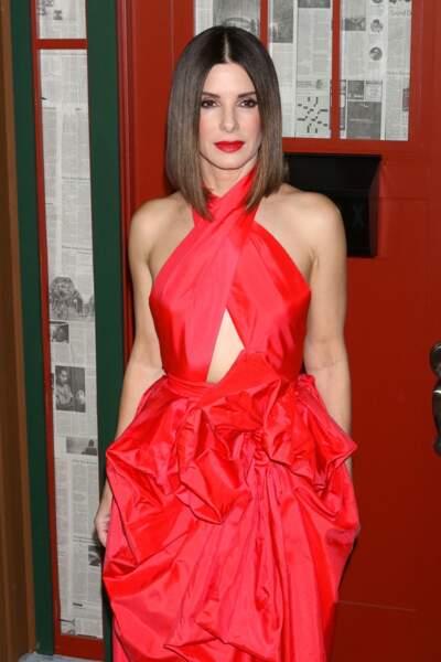 """Sandra Bullock (54 ans), à la première du film """"Bird Box"""" à New York en 2018"""