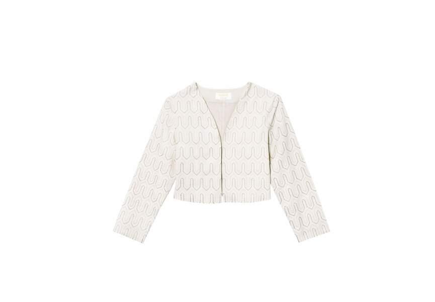 Lorafolk  pour Monoprix, Veste brodée, écru, polyester et doublure coton, 75 €