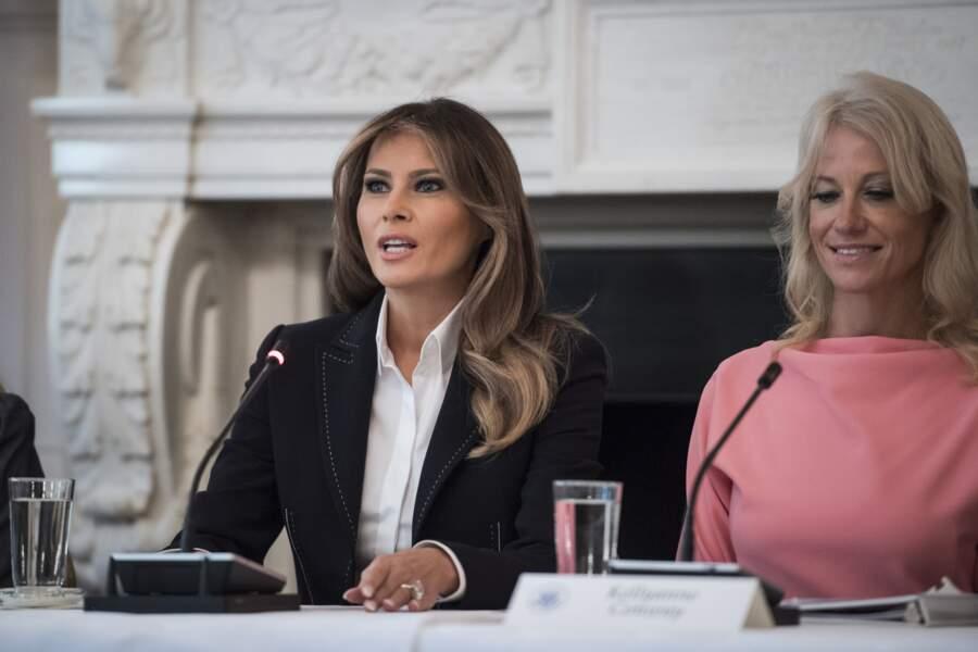 """28 septembre 2017: look de """"working First Lady"""" pour inaugurer son engagement en faveur des toxicomanes"""