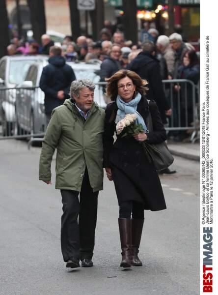 Jean-Louis Borloo et sa femme Béatrice Schönberg  aux obsèques de France Gall au cimetière de Montmartre à Paris