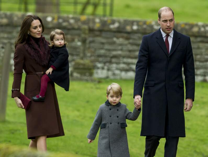 William, Kate, George et Charlotte à la messe de Noël en Englefield le 25 décembre 2016