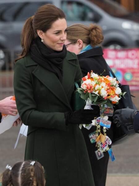 Kate Middleton opte aussi pour une queue-de-cheval haute pour une visite officielle à Blackpool le 6 mars 2019