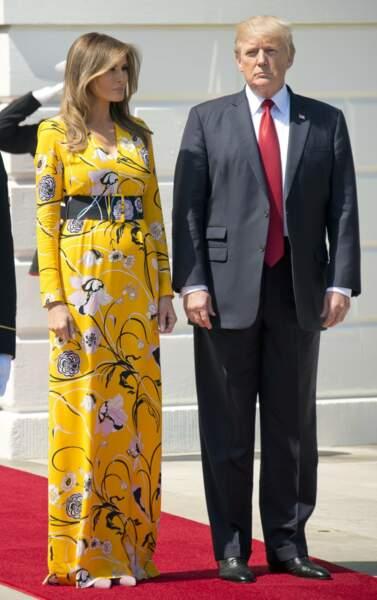 Melania Trump, en robe à fleurs Emilio Pucci, pour la venue du 1er ministre indien à Washington, le 26 juin 2017
