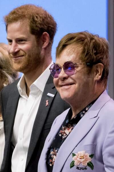 """Elton John et le prince Harry participent à la conférence internationale """"AIDS"""" aux Pays-Bas le 24 juillet 2018"""