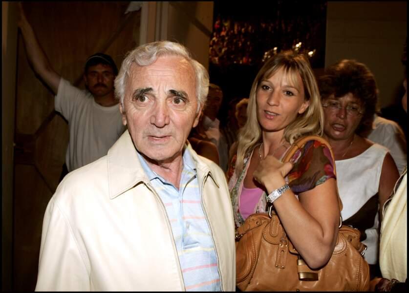 Charles Aznavour avec sa fille Katia, au Festival de Ramtuelle, en 2005.