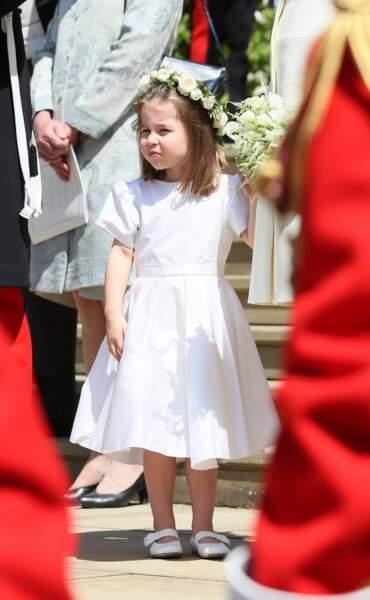 La princesse Charlotte lors du mariage de son oncle, Harry et de Meghan Markle