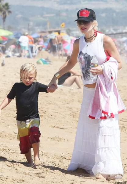 Gwen Stefani, habituée des plages de Miami, avec son fils Kingston, âgé de 6 ans