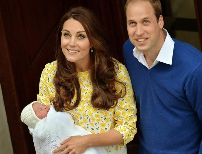 William et Kate lors de la naissance de Charlotte, le 2 mai 2015 au St Mary's Hospital de Londres