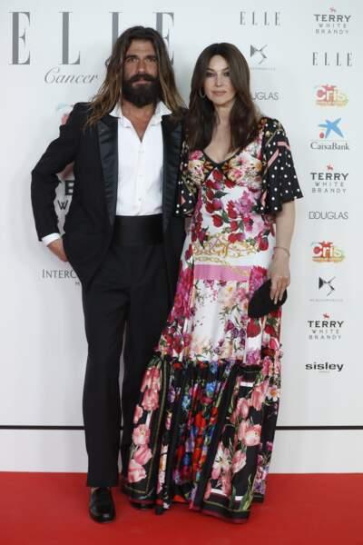 Monica Bellucci et son compagnon Nicolas Lefebvre au photocall du gala de charité ELLE