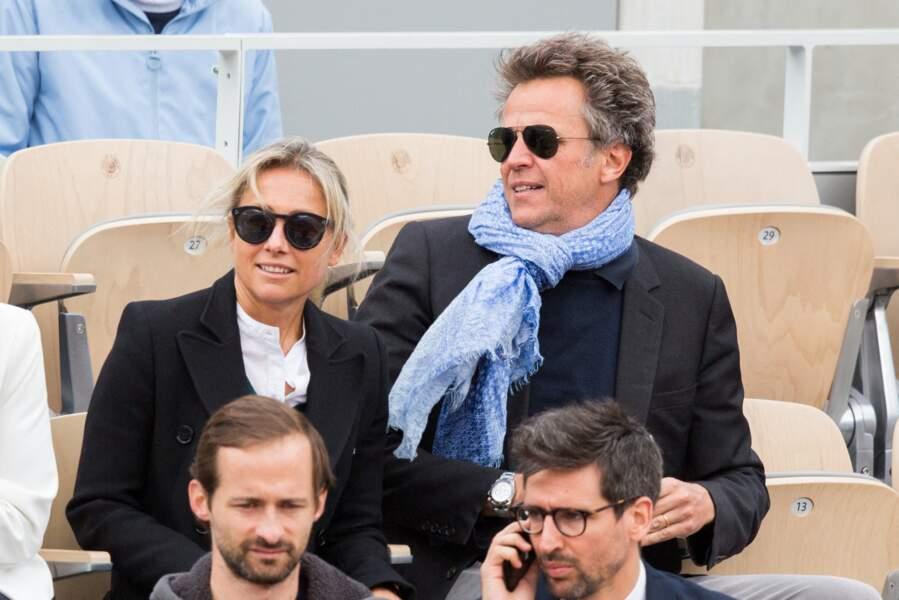 Anne-Sophie Lapix et son mari Arthur Sadoun ont été aperçus dans les tribunes de Roland Garros, le 8 juin 2019