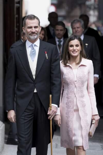 Felipe et Letizia  à la cérémonie de remise des prix Cervantes le 23 avril 2018