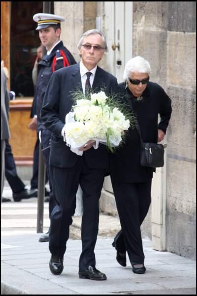 Danielle Darrieux et Jacques Jenvrin aux funérailles de Jean-Claudre Brialy