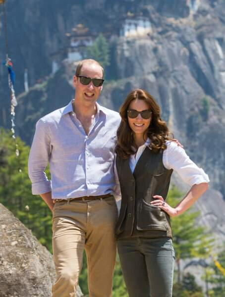 Kate & William - Trek vers le monastère du Nid du Tigre - Bhoutan - ABACA