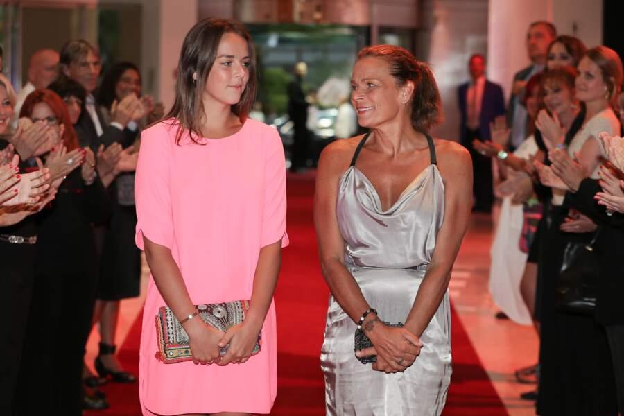 Stéphanie et sa fille Pauline fêtent les 10 ans de Fight Aids Monaco, le 25 Juillet 2014 au Sporting de Monte Carlo
