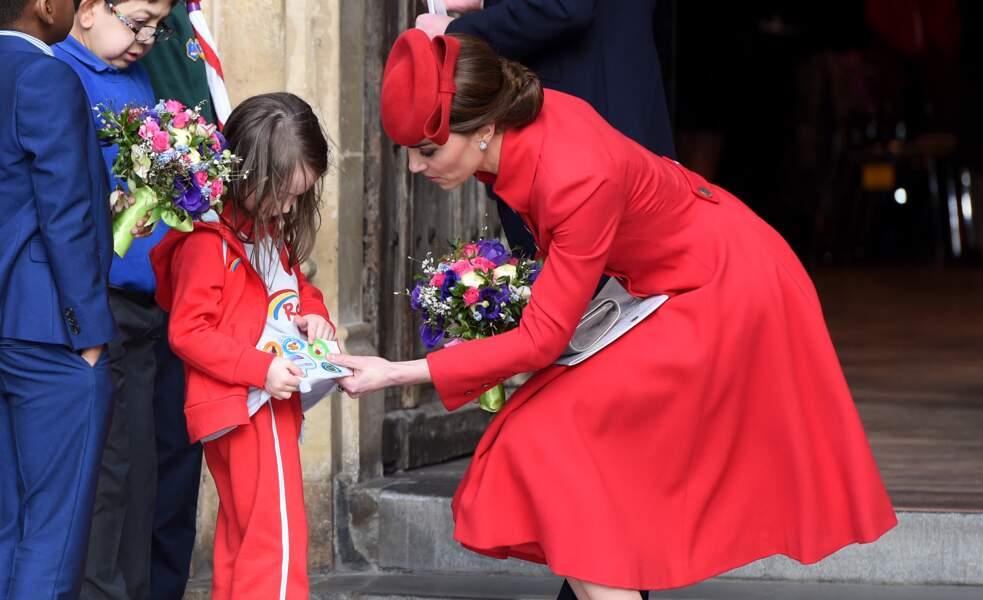Kate Middleton à l'Abbaye de Westminster, à Londres, le 11 mars 2019.