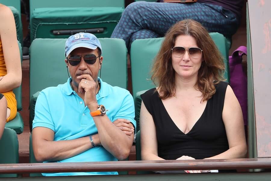 Pascal Legitimus et sa femme Adriana Santini en tribune à Roland Garros le 28 mai 2018