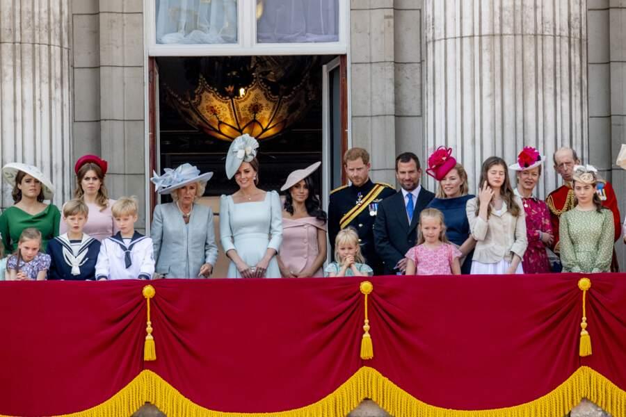 Eugénie d'York et Béatrice d'York, avec leurs cousins, les princes William et Harry, en juin 2018