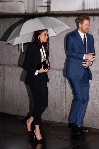 Meghan Markle en Alexander McQueen à Londres pour la soirée Endeavour Fund Awards, le 1er février 2018