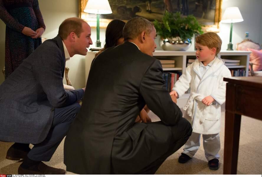 William d'Angleterre et son fils George lors de la visite de Barack Obama à Kensington le 22 avril 2016
