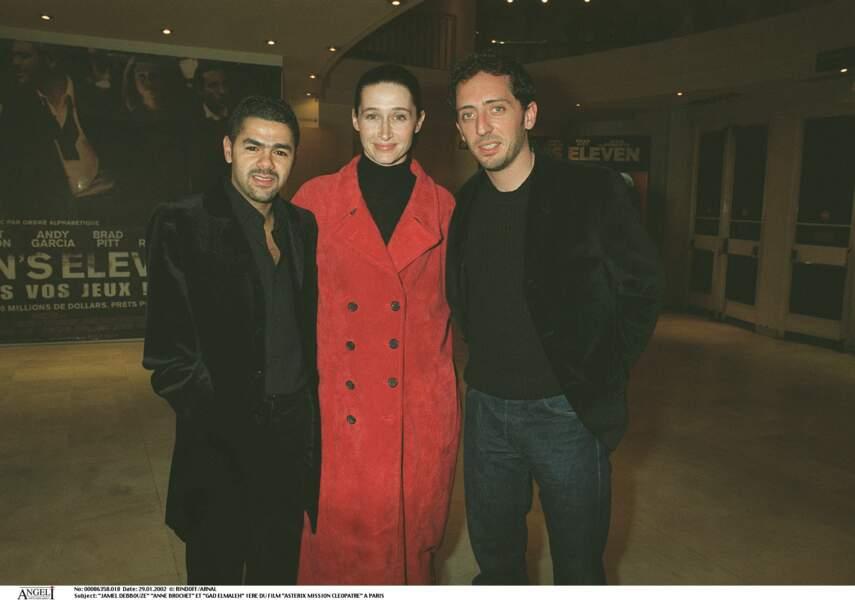 Gad Elmaleh avec Anne Brochet et Jamel Debbouze à la première de Astérix Mission Cléopâtre en 2002