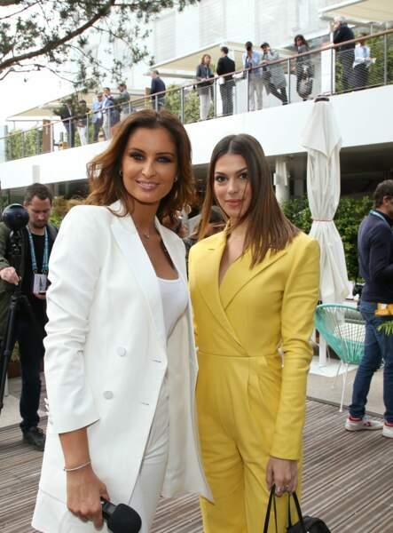 Malika Menard et Iris Mittenaere étaient radieuses pour leur venue à Roland Garros, le 8 juin 2019