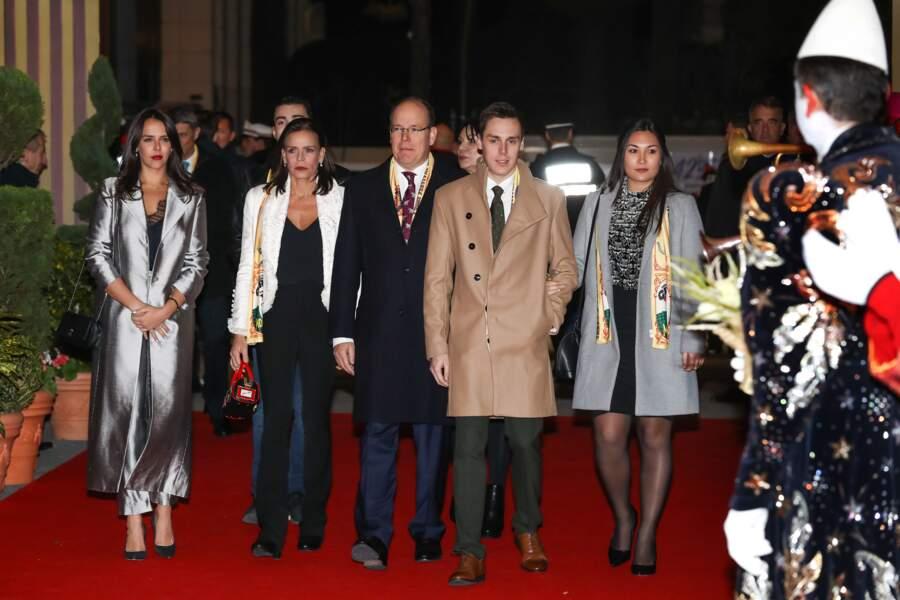 Pauline Ducruet, Stéphanie de Monaco, Albert II de Monaco, Louis Ducruet et Marie Chevallier le 16 janvier 2018