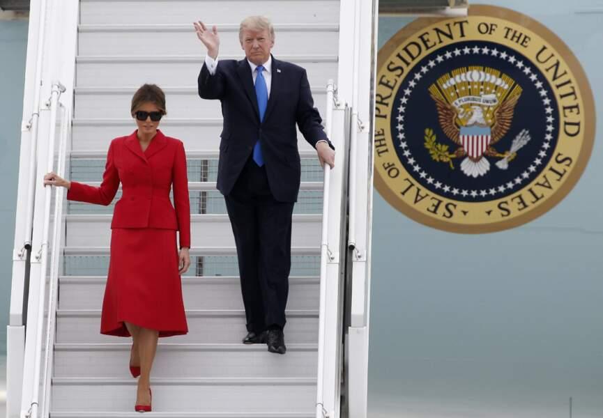 Pour l'occasion Melania Trump a opté pour un look qui rappelle celui de Jackie Kennedy