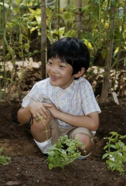 Le prince Hisahito du Japon, alors âgé de 8 ans, pose dans les jardins de la résidence familiale à Tokyo en 2014