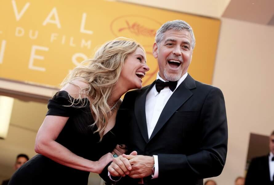 """Avec George Clooney à la montée des marches de """"Money Monster"""" à Cannes en 2016"""