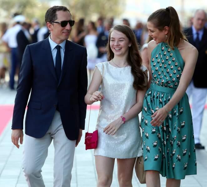 Gad Elmaleh, la princesse Alexandra Hanovre et Charlotte Casiraghi à Monaco le 20 juin 2014
