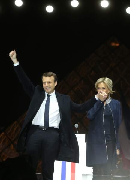 Après la victoire d'Emmanuel Macron, à Paris, lors du deuxième tour de l'élection présidentielle, le 7 mai 2017.