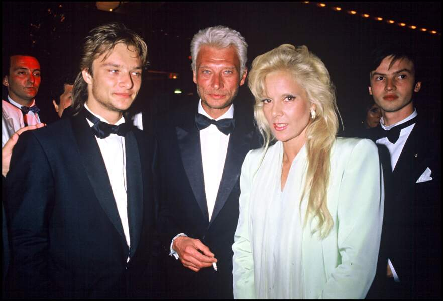 David Hallyday, Johnny Hallyday et Sylvie Vartan au Festival de Cannes en 1986