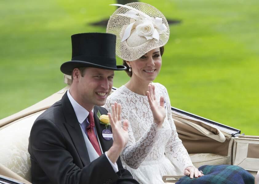 William et Kate lors des courses hippiques du Royal Ascot, le 15 juin 2016