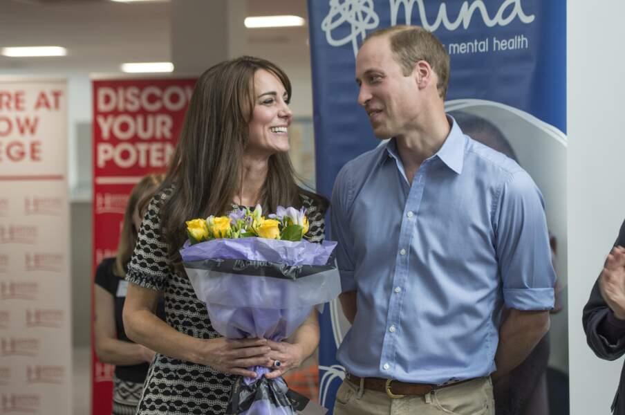 Kate et William lors d'une visite au Harrow College de Londres, le 10 octobre 2015