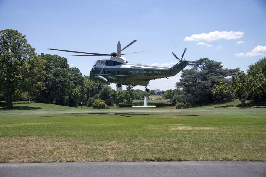 Marine One arrive à la Maison Blanche mercredi 18 juillet 2018