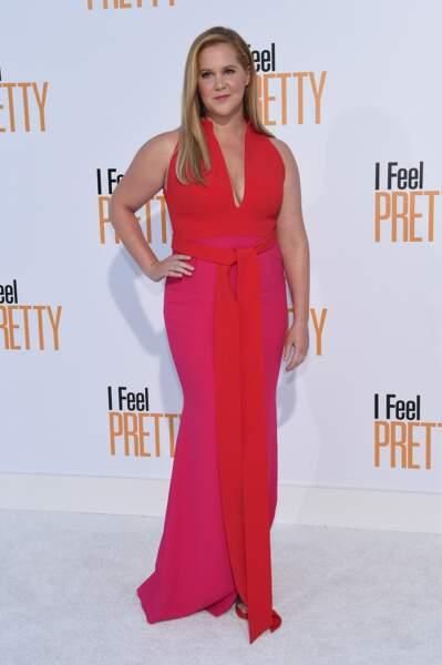 """La comédienne Amy Schumer, à la première du film """"I Feel Pretty"""" à Los Angeles, le 17 avril 2018"""