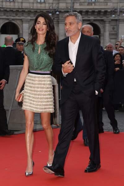 """George et Amal Clooney à Rome, à l'avant-première de la série TV """"Catch 22"""" , le 13 mai 2019"""