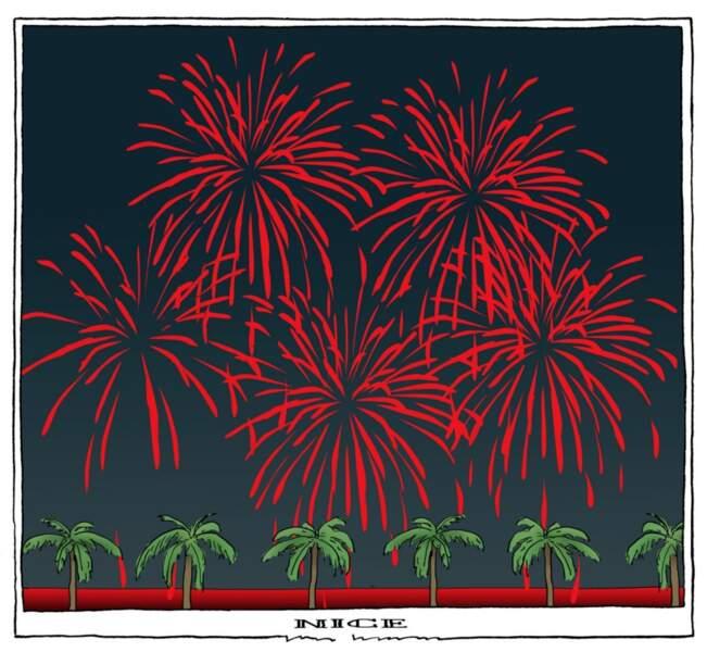 Une carte postale du feu d'artifice ensanglanté de Nice pour Bertams, dessinateur hollandais.