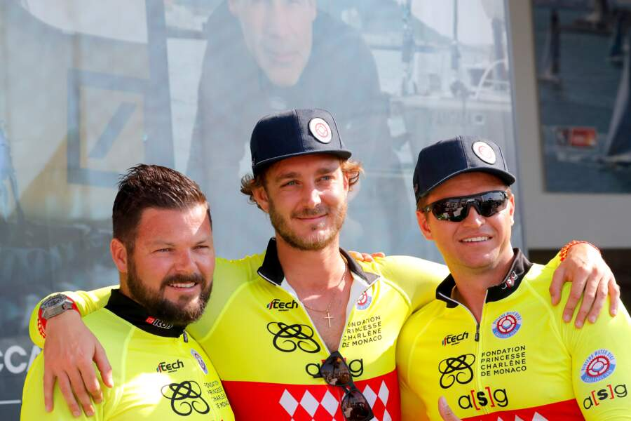 Les frères de Charlène, Sean et Gareth Wittstock, entourant Pierre Casiraghi, à Monaco, le 17 juin 2018