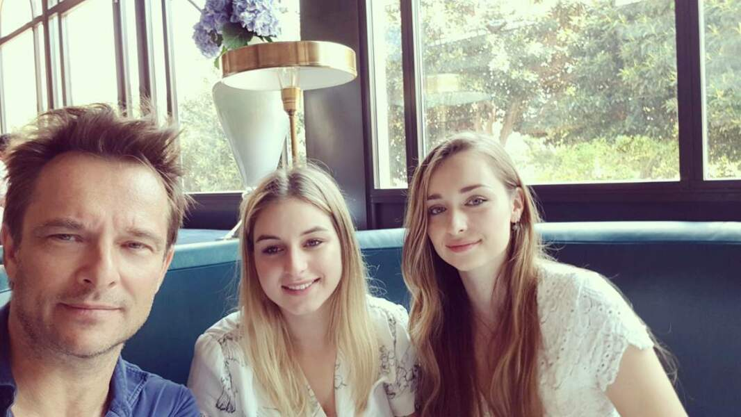 David Hallyday avec sa fille Emma Smet et Darina Scotti (fille de Sylvie Vartan) à Monaco en mai 2017