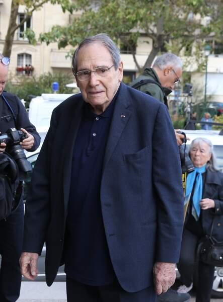 Robert Hossein aux obsèques ducomédien Jean Piat en l'église Saint François-Xavier à Paris le 21 septembre 2018