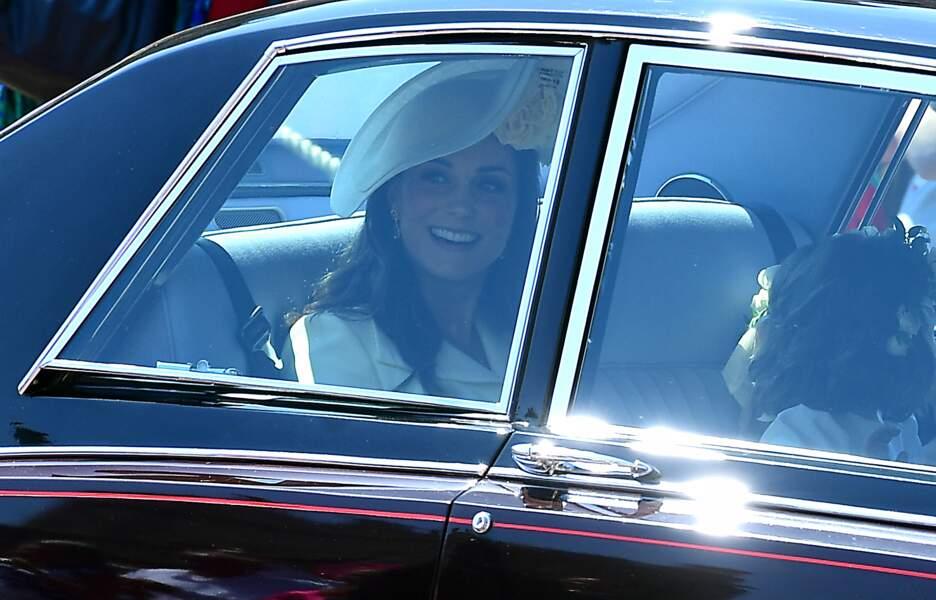 Kate Middleton fait son arrivée au mariage du prince Harry et de Meghan Markle